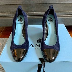 Lanvin Blue Suede Compense Captoe Wedge Sz5.5